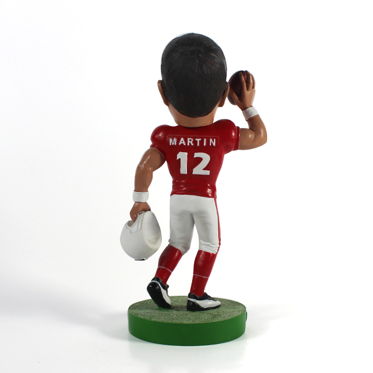 Resin Custom Desktop Decoration Martin Rugby Player Bobble Heads for Sale