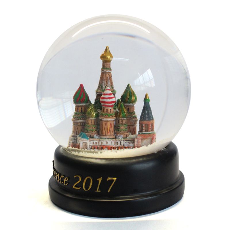Resin wholesale customized unique annual conference black base castle snow globe