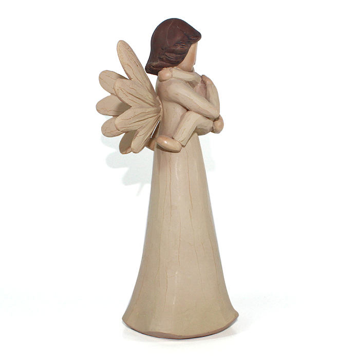 custom wood resin mother and child angel wings figurine