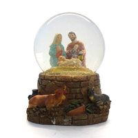 Resin epoxy animal figurines souvenir gift couple snow globe with religious style