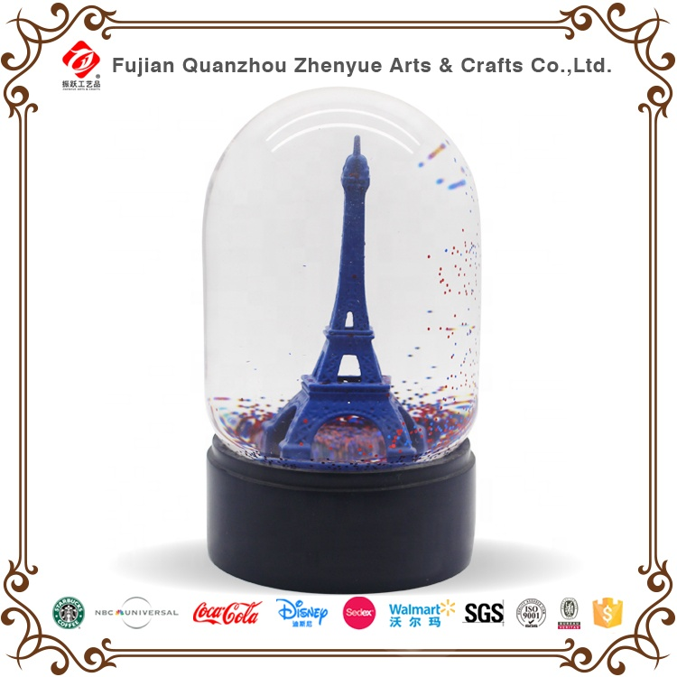 3D resin decoration Eiffel tower custom plastic snow globe Craft Souvenir gift water ball