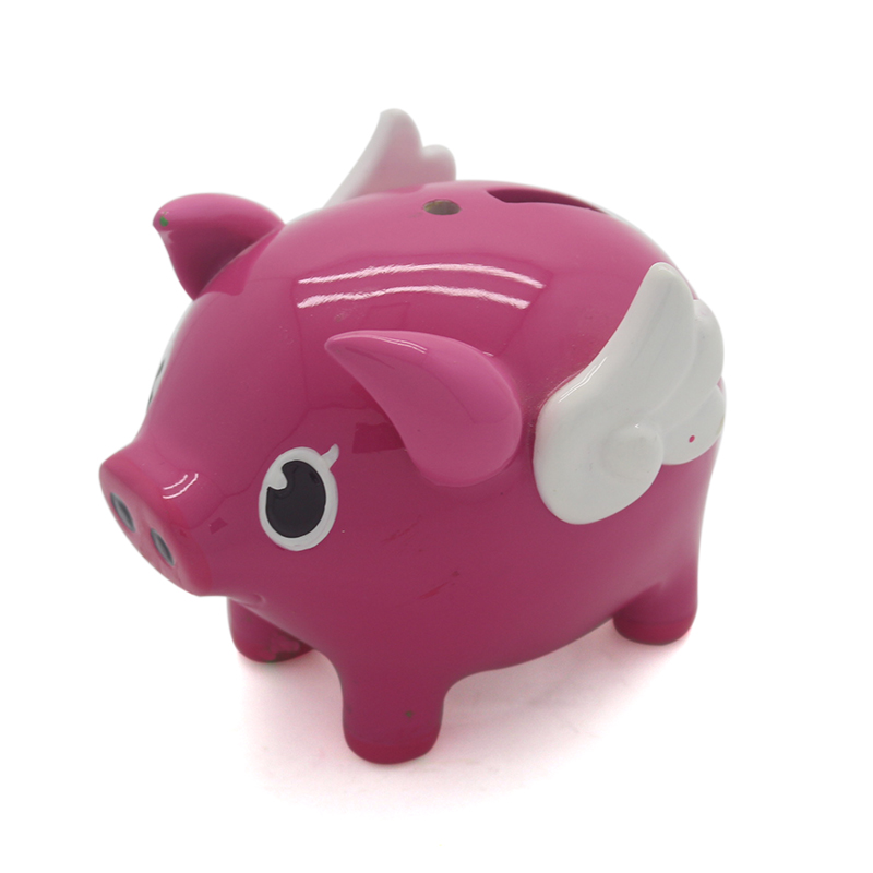Resin cheap customized colorful money saving box pink pig shaped piggy bank