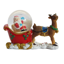 2019 Newest Creative Christmas Santa Claus rides a stag cart snow globe
