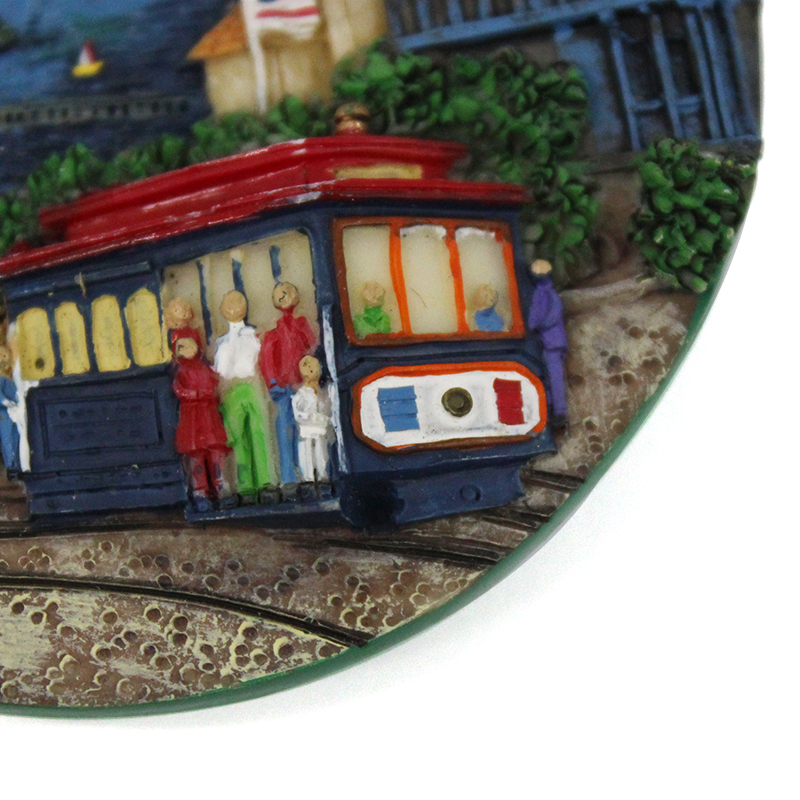 Resin custom souvenir gifts oval San Francisco landmark building fridge magnet