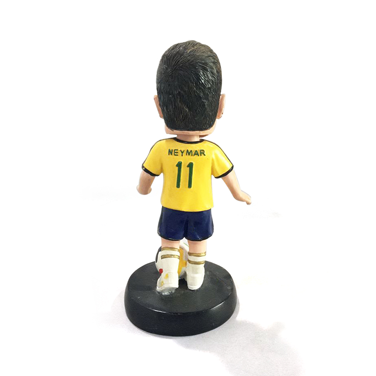 Resin custom souvenir Brazilian Neymar football player bobblehead with artificial style