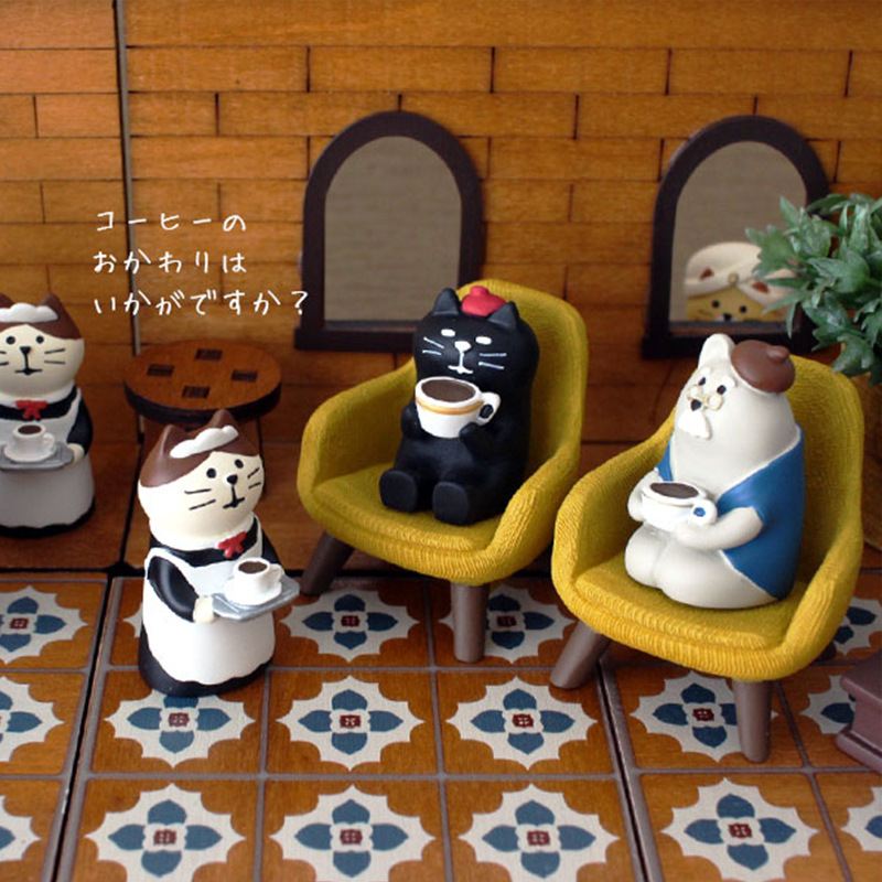 custom resin cute cartoon mini indoor decoration chairs sculpture with cat