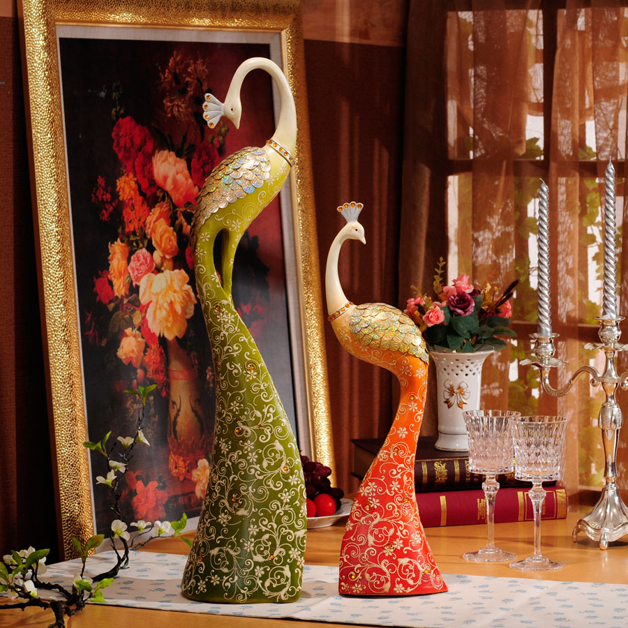 hand animal figure craft large resin indoor decorative peacock statue