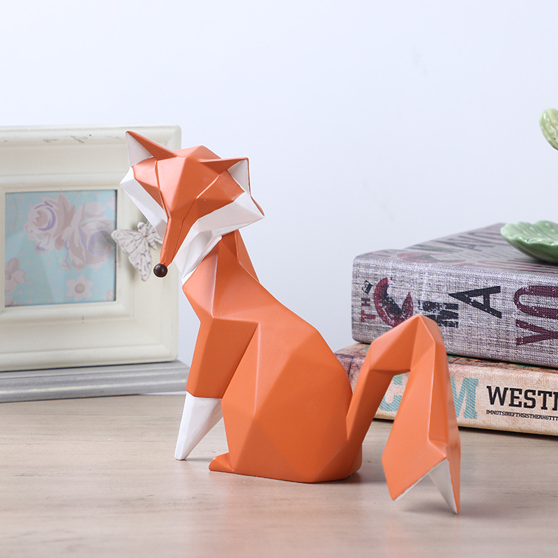 cheap custom handmade nordic style craft resin fox figurines for sale