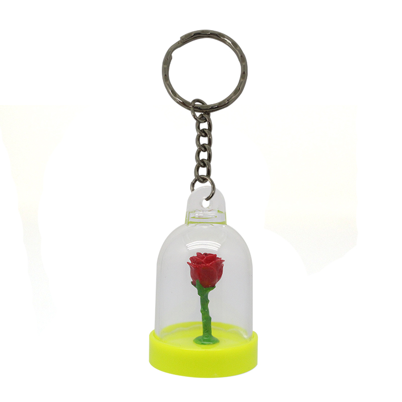 Custom Acrylic Preserved Roses Keychain For Cars