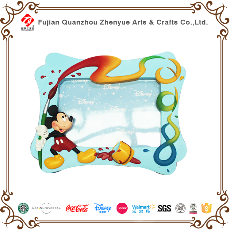 Resin custom home decoration cartoon character Mickey Mouse photo frame for gifts