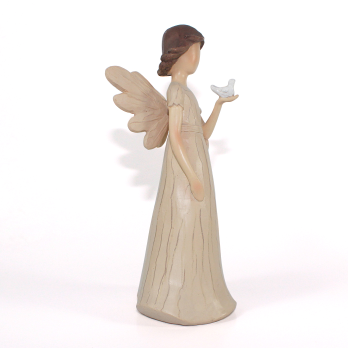 factory wooden polyresin angel with bird figurine