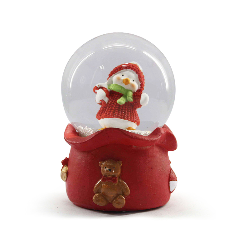 Christmas theme resin penguin lighted snow globes