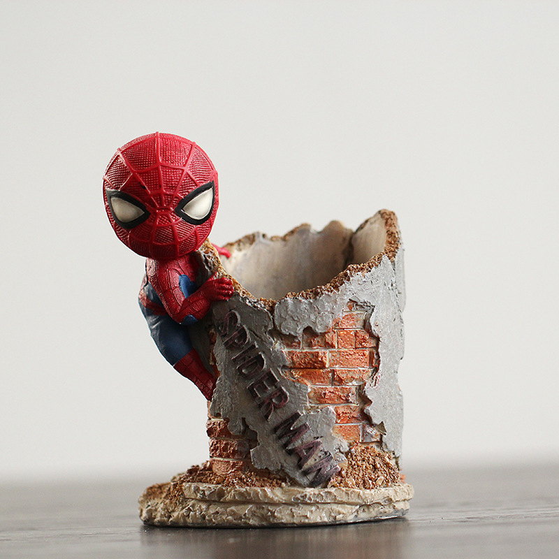 resin creative decor pen pot animation movie superhero spider man statue